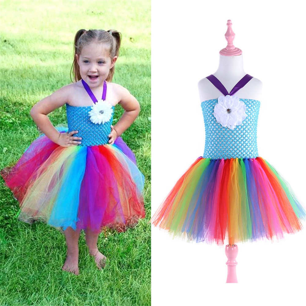 bohemia flower girls rainbow dress unicorn party dresses