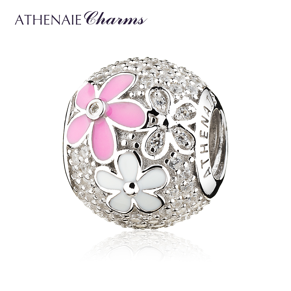 ATHENAIE 925 Sterling Silver Poetic Blooms Mixed Enamels Clear CZ Bead Charms for European BraceletsATHENAIE 925 Sterling Silver Poetic Blooms Mixed Enamels Clear CZ Bead Charms for European Bracelets