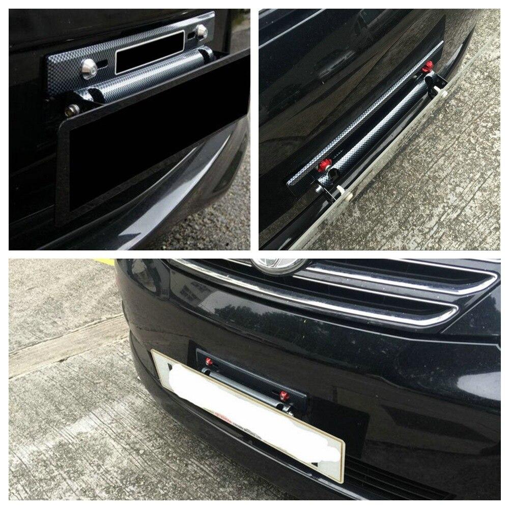CHIZIYO Car License Plate Frame Holder Carbon Fiber Racing Number Plate Holder Adjustable Mount Bracket Car Modification