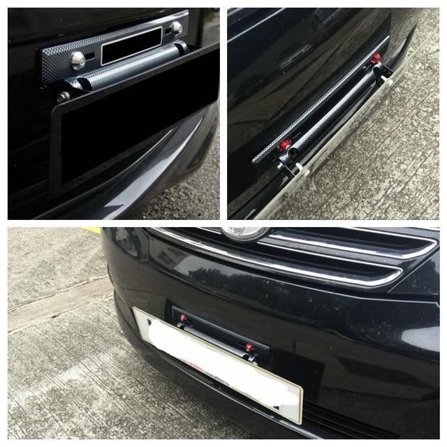 Chiziyo 자동차 번호판 프레임 홀더 탄소 섬유 레이싱 번호판 홀더 조정 가능한 마운트 브래킷 자동차 수정