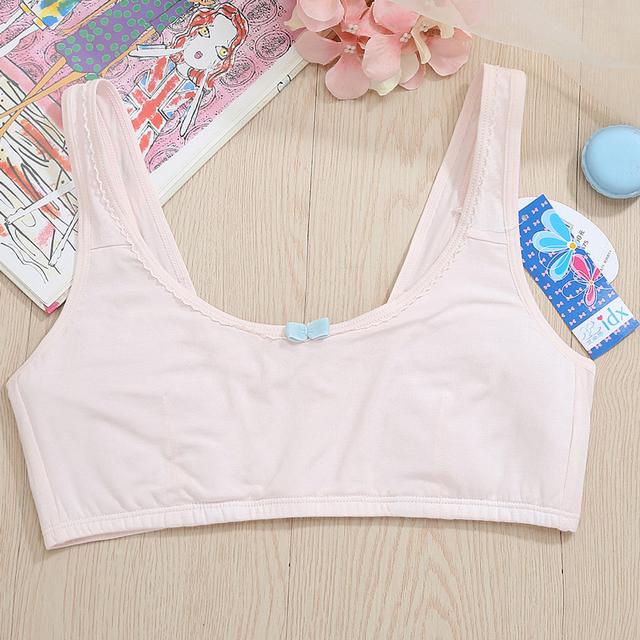 New Feichangzimei Teen Girl Underwear Sport Bra White/Pink AA Cup Cotton Comfortable Training Bras  2 Pack For Girls -18001