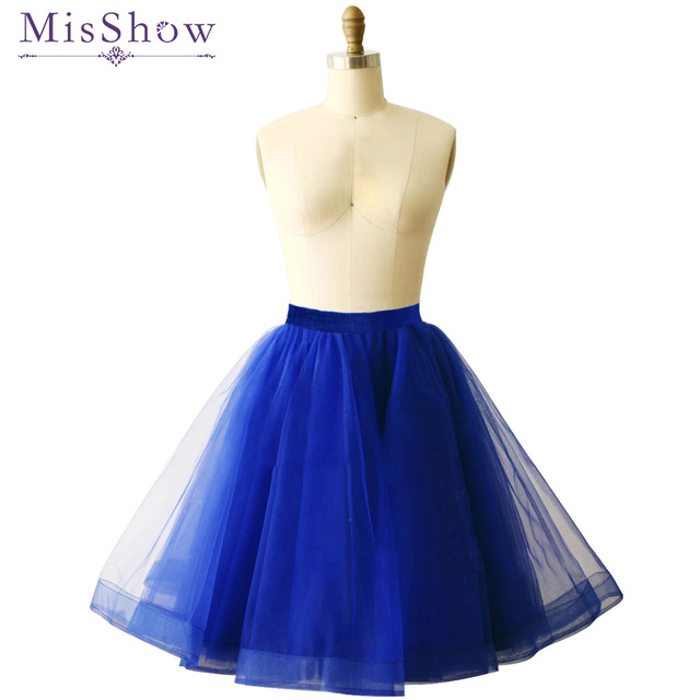 Womens 4 Layers 60cm Midi Tulle Skirt MisShow Apparel Tutu Skirts Women Pleated Skirt Party Petticoat 2018 Lolita Faldas Saia