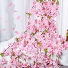 180cm Cherry blossoms Rattan Sakura Wedding decoration Vine Artificial flowers party Silk Ivy wall Hanging Garland Wreath 1pc