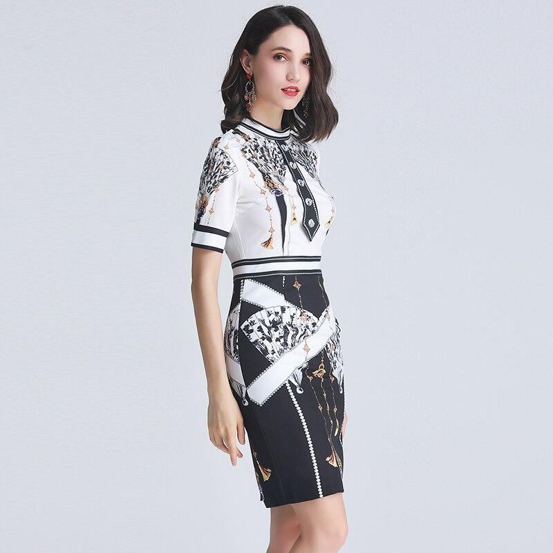 Kadın Giyim'ten Elbiseler'de SEQINYY Vintage Elbise Baskılı Çiçekler Kontrast Renk Beyaz Siyah 2019 Yaz Moda Tasarım Kadın Kısa Kollu Ince Mini Elbise'da  Grup 3