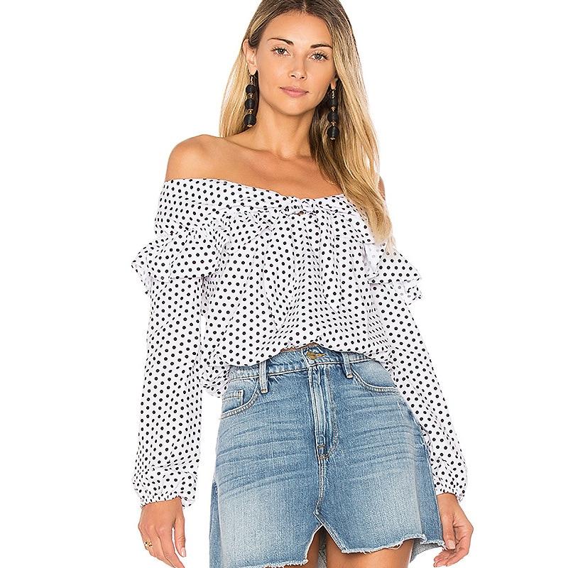 0cbf1a48d9 Off Shoulder Summer Dot Long Sleeve Blouse Chiffon Lace Up Bow Shirt Womens  Clothing Cheap Cute Blusinhas Baratas Blusas Gomlek