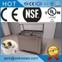 Commercial high quality double square pan fry fried ice cream maker machine