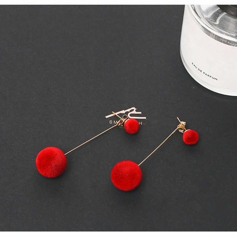 E0371 Мода Красный Черный плюшевый шар Висячие серьги для женщин Корея бархат круглый Длинный кисточкой Висячие серьги массивные ювелирные изделия подарок