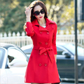 spring autumn long-sleeved double-breasted coat women's windbreaker solid color loose big yards trench coat feminino AH-131
