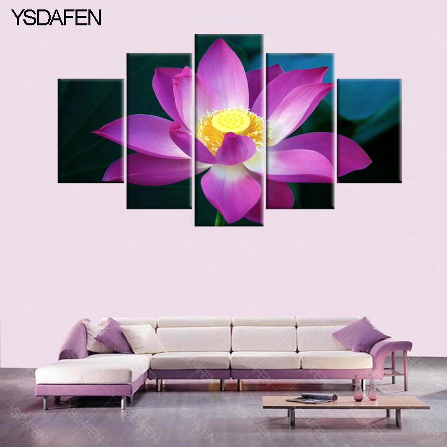 5 piece canvas art purple lotus flower for hd printed painting 5 piece canvas art purple lotus flower for hd printed painting canvas home decor wall art picture for living room in painting calligraphy from home izmirmasajfo