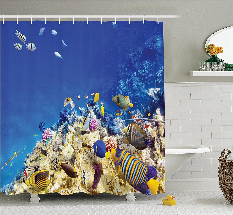 Ocean themed shower curtains - Memory Home Ocean Shower Curtain Underwater Life Wilderness Ocean Theme Waterproof Polyester Fabric Bathroom Accessories