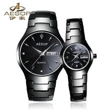 Эзоп пару часы Полный Керамика кварцевые часы сапфир Стекло день дата Diamond Dial Для мужчин и Для женщин часы Relogio Masculino