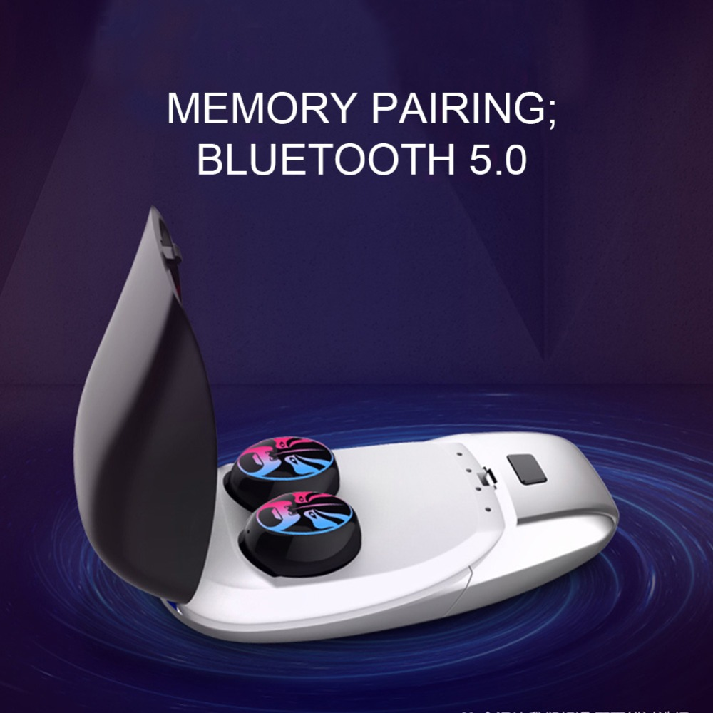 US $36 89 27% OFF CALETOP Bluetooth 5 0 Earphones TWS True Wireless  Headphones HIFI 6D Stereo Music Mini Earbuds with Dual MIC Cool Lamp  Headset-in