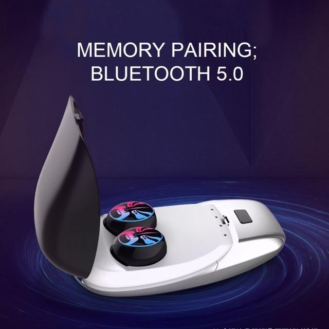 CALETOP Bluetooth 5.0 Earphones TWS True Wireless Headphones HIFI 6D Stereo Music Mini Earbuds with Dual MIC Cool Lamp Headset