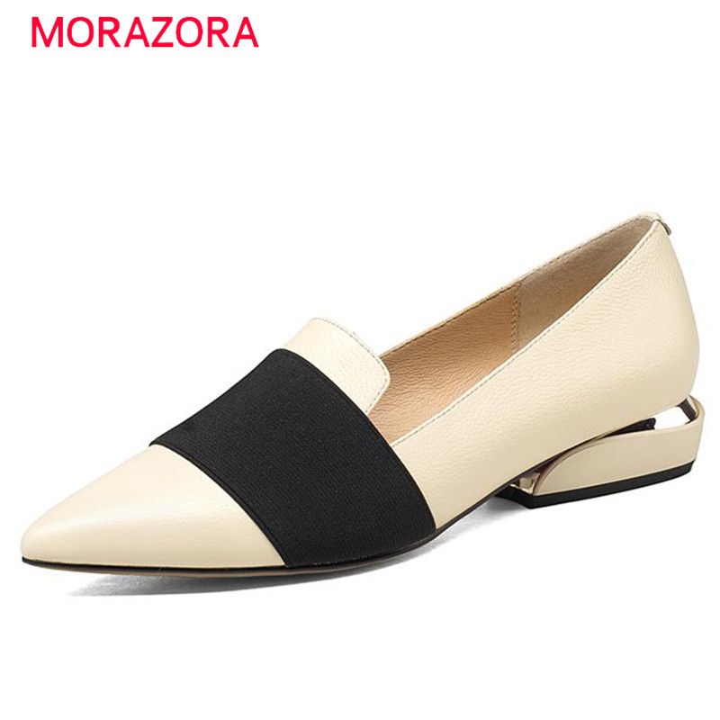 MORAZORA Mixed colors women flats genuine leather shoes big size 33-43 pointed toe single shoes spring autumn fashion memunia 2017 fashion flock spring autumn single shoes women flats shoes solid pointed toe college style big size 34 47