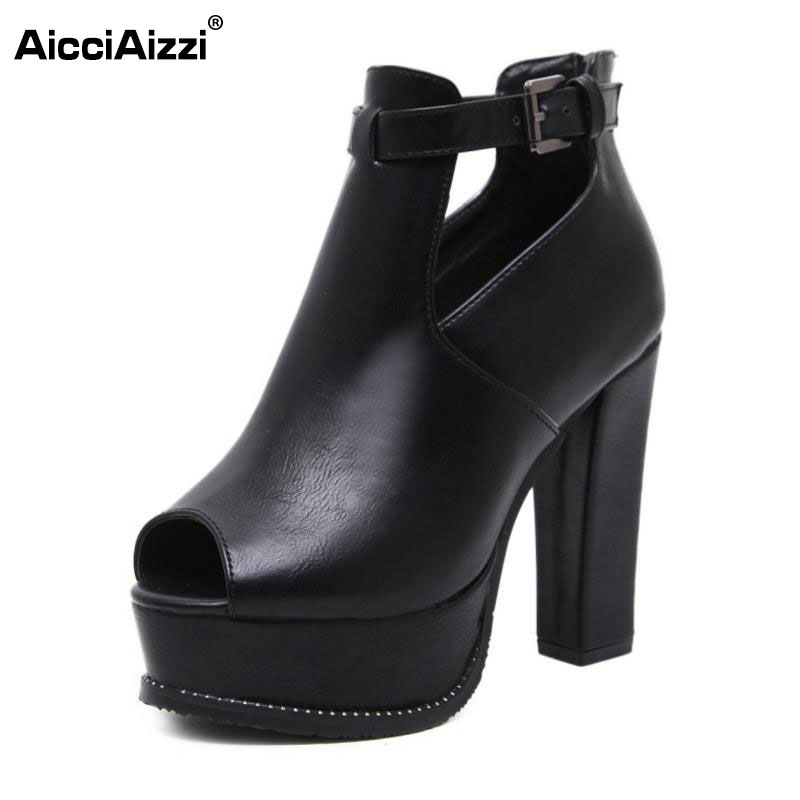 AicciAizzi Women Gladiator High Heel Sandals Platform  Wrap Thick Heels Sandals Summer Shoes Sexy Women Footwears Size 34-39 phyanic 2017 gladiator sandals gold silver shoes woman summer platform wedges glitters creepers casual women shoes phy3323