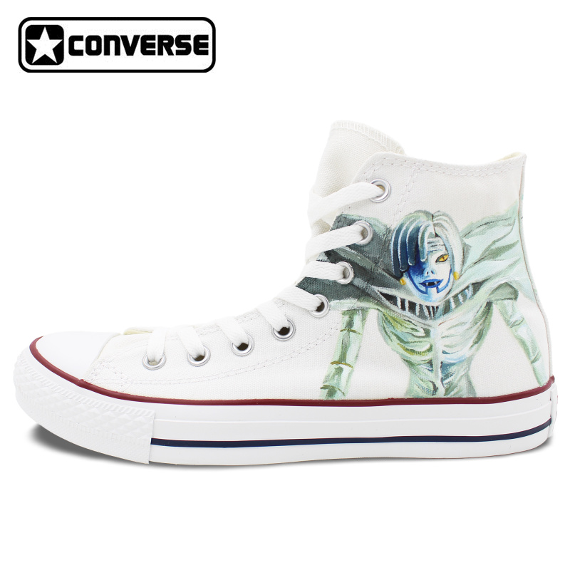 Wihte Anime Converse All Star Women Men Shoes Death Note Design Hand Painted Shoes Woman Man Canvas Sneakers Cosplay Gifts  classic original converse all star minim musical note design hand painted shoes man woman sneakers men women christmas gifts