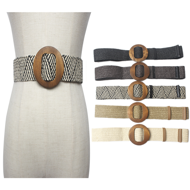 Skirt Belt Braiding-Belt Buckle Elastic Female Black Vintage Women Woman's Round Knitted