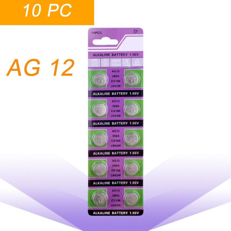 10 Pz/pacco Ag12 Lr43 386 Batterie A Bottone Sr43 186 Sr1142 Lr1142 Batteria Alcalina Della Moneta Delle Cellule 1.55 V V12ga Per La Vigilanza Giocattoli A Distanza Sconti