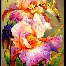 Nakış Sayılan Çapraz Dikiş Kitleri Iğne-El Sanatları 14 ct DMC renk DIY Sanat El Yapımı Dekor-Iris ve Hummingbird 1