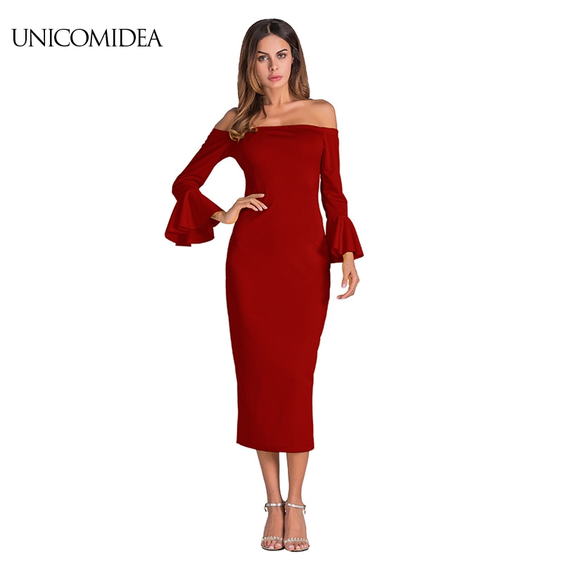 New Casual Long Autumn Dress Sexy Slash Neck Long Butterfly Sleeve Women Rib Knitted Maxi Dress Elegant Party Red formal Dress