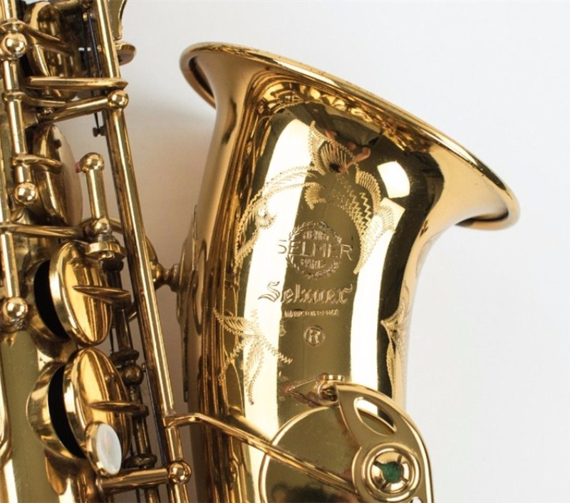 High quality New Selmer Gold Lacquer Alto Saxophone Instrument  Brass Sax Alto Musical Instrument Professional level FREE free shipping france henri selmer saxophone alto 802 musical instrument alto sax gold curved saxfone mouthpiece electrophoresis