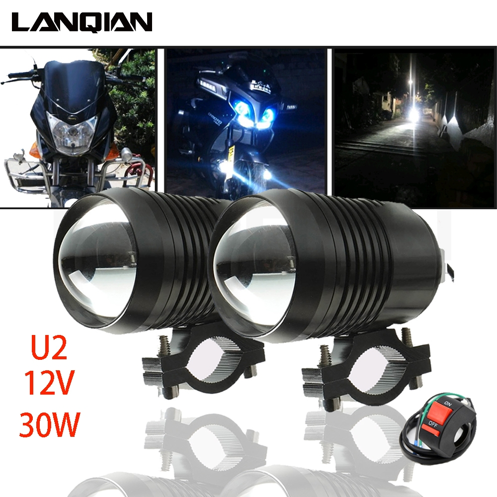 Motorcycle Light U2 30W 12V 1200LM Motorbike Accessories Spotlights Accessory Moto Fog Auxiliary Led moto Driving Spot Headlight
