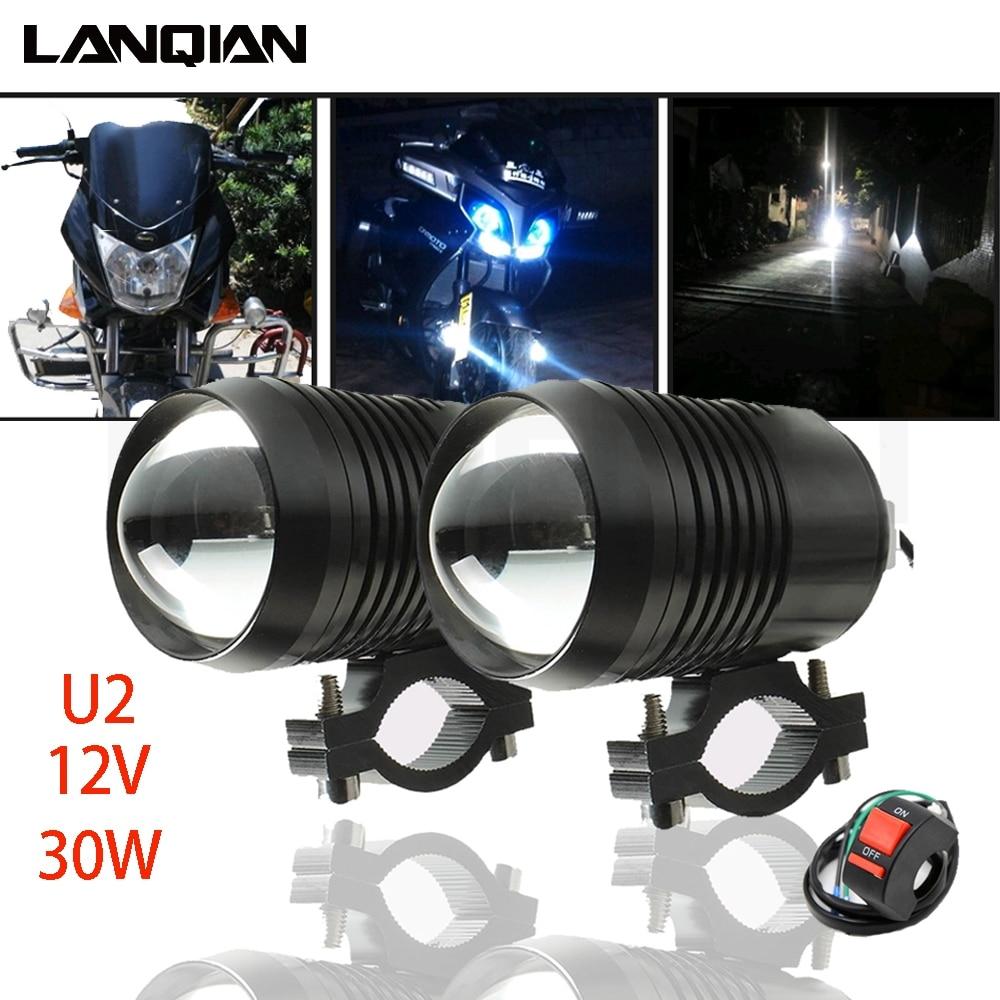 Motorcycle Light U2 30W 12V 1200LM Motorbike Accessories Spotlights Accessory Moto Fog Auxiliary Led Moto Driving Spot Headlight