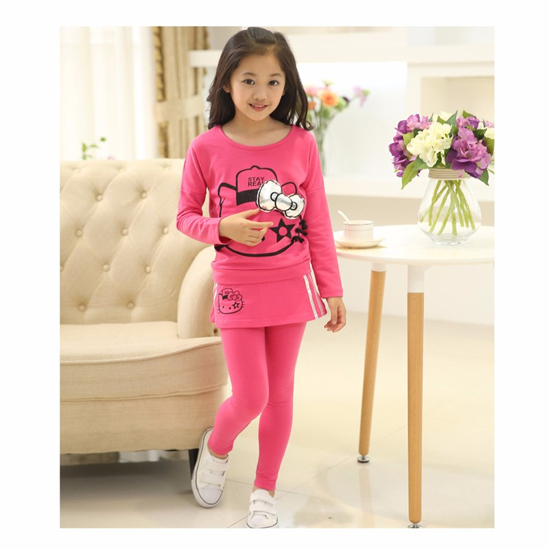 New Spring Kids Clothes Girls Clothing Set Hello Kitty Sprot casual children clothing set girls tops+leggings skirt pants high quality new spring autumn girls clothing sets kids clothes girls solid skirt tops set children clothing