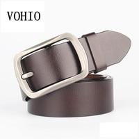 VOHIO Men Belts 100% genuine leather Plus Size 150 160 165cm Belts pin buckle Black brown Belt Mens Waist Belt 58 66inch Long