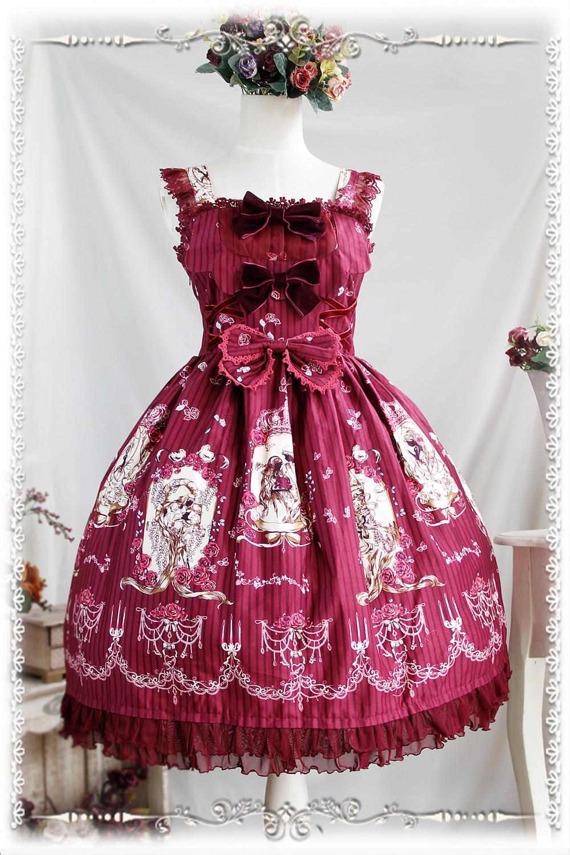 2016 Lolita Original imprimé Floral coton doux Lolita robe victorienne Tangeld JSK robe de soirée bleu/rouge/Beige - 5