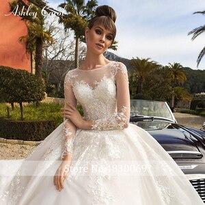 Image 3 - Ashley Carol Spitze Ballkleid Hochzeit Kleider 2020 Lange Ärmeln Prinzessin Oansatz Appliques Lace Up Taste Luxus Königliche Brautkleider