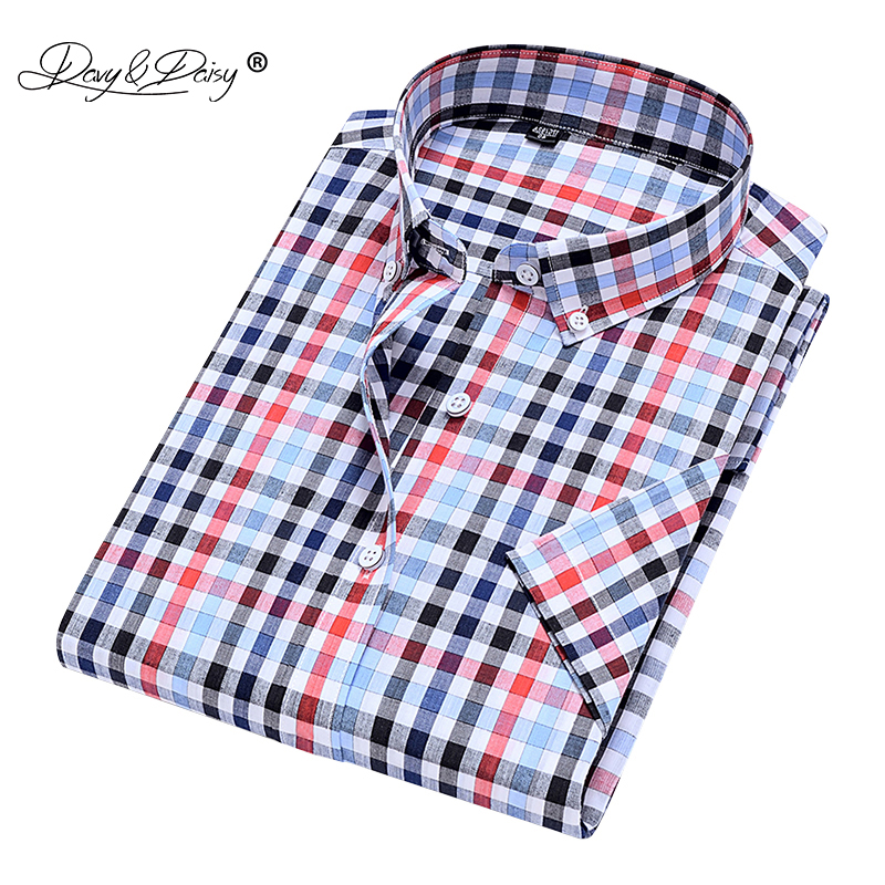 DAVYDAISY 2019 New Arrival Summer Men Shirt 100% Cotton Short Sleeved Causal Plaid Man Shirts 17 Colors Soft Mens Shirt DS316