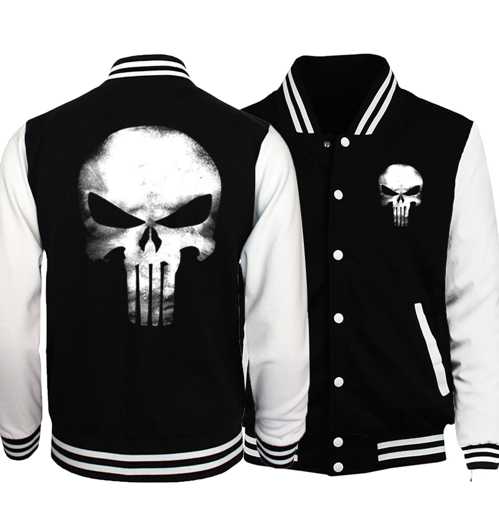 Punisher Anime Skull Print Mens Baseball Jacket 2019 Spring Casual Streetwear Funny Hoodies Tracking Hip Hop Sweatshirt