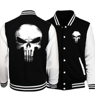 the punisher anime skull print mens baseball jacket 2017 spring casual streetwear funny hoodies tracking hip hop sweatshirt
