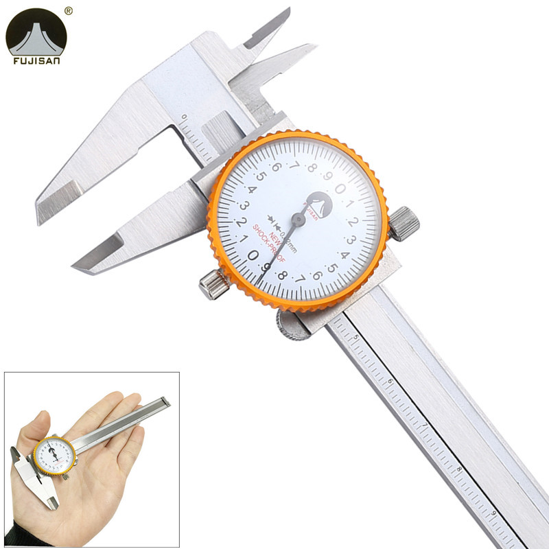 FUJISAN Mini Dial Caliper 0-100mm/0.02mm Shock-proof Stainless Steel Pocket-Size Vernier Caliper Metric Gauge Measuring Tool dial caliper 0 200mm 0 02 metric stainless steel shock proof measurement gauge calipers