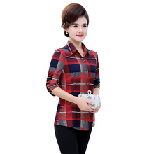 Middle Aged Women Plaid Shirts Red Khaki Check Pattern Blouses Woman Turn Down Collar Cotton Top Mother Casual Shirt Leisure
