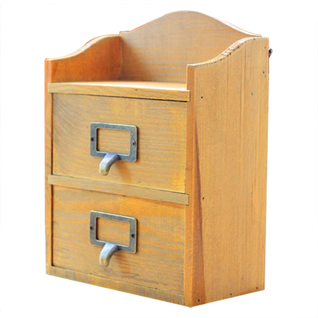 Retro Wooden Drawer Type Storage Box Destop Double Mini Storage Cabinets  Home Wall Hanging Finishing Lockers