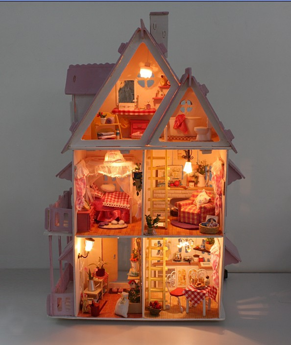 Aliexpress Hot Sunshine Alice Pink Diy Wooden Miniatura Doll House Furniture Handmade Miniature Dollhouse Toys Gits English Instructions From