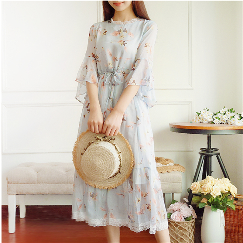 2018 Summer Vintage Floral Print Long Dreses For Women Japanese Mori Girl Fairy Elegant Dress Boho Sweet Chiffon Lace Midi Dress