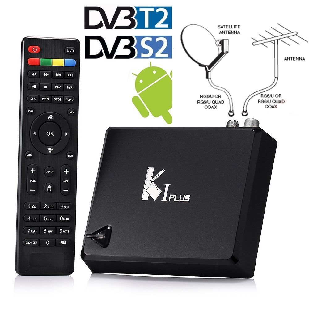 K1 Plus DVB-S2 / T2 Android 5.1 Combo TV Box Amlogic S905 Quad Core 1GB 8GB Set Top Box 1080 4K HD Kodi H.265 IPTV WiFi 64bit k1 dvb s2 android 4 4 2 amlogic s805 quad core tv box