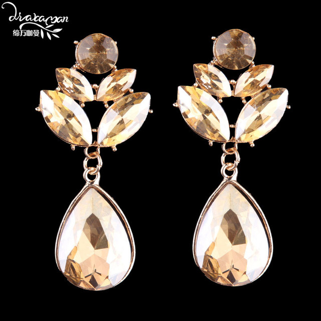Dvacaman Brand Boho Fashion Tear Stud Earrings Indian Bridal Crystal Statement Jewelry Love Wedding Accessory