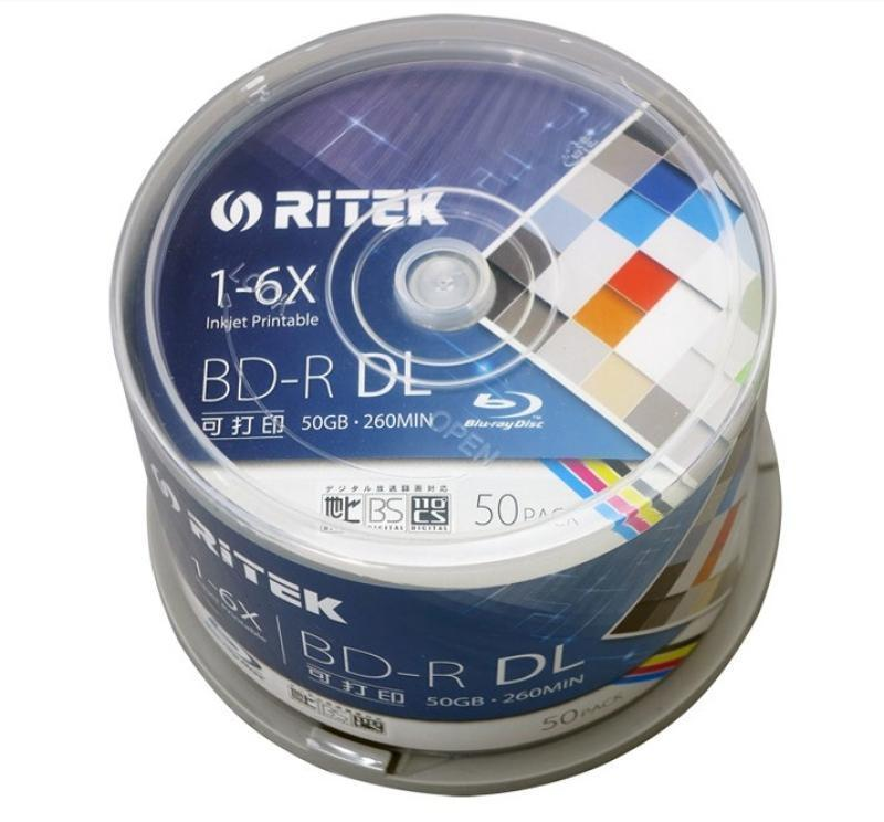Free shipping Ritek one box A 50 pack quality Blank Printable Blu Ray DL 1 6x