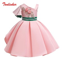 купить Girls One Shoulder Flowers Embroidery Birthday Elegant Princess Dresses Girls Wedding Theme Party Ball Gown Dress дешево