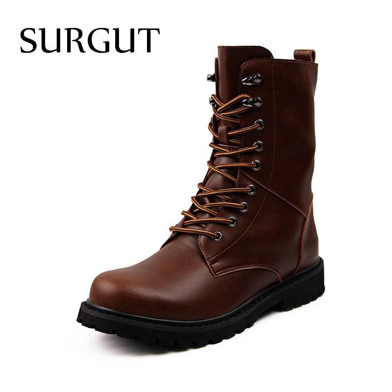 e8ef97f1dcec SURGUT 100% Echtem Leder Männer Stiefel Atmungsaktive High Top Schuhe Im Freien  Beiläufigen Männer Winter