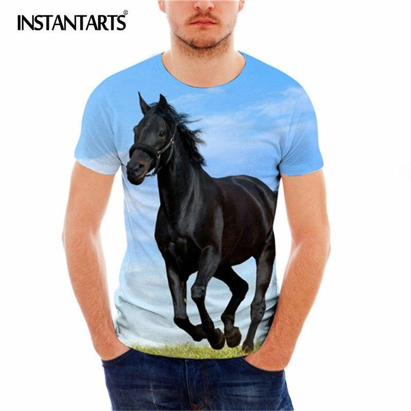 INSTANTARTS 2018 Male Short Sleeve T Shirt 3D Carzy Horse Print Mens Breathable T-shirt for Boy Summer Hip hop Skate Tee Shirt