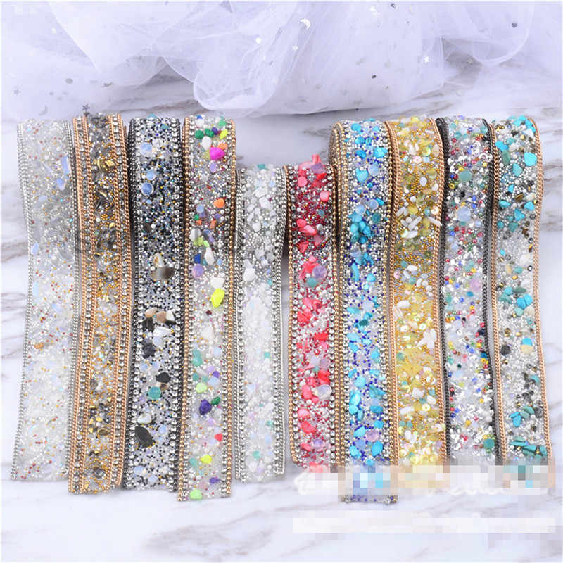 ... 2pcs lot 2.5cm rhinestone diamond Trim bridal beaded appliques strass  crystal mesh banding for ... de98fde0e252