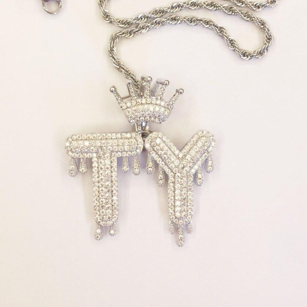 OMYFUN usine prix personnalisé nom A-Z goutte à goutte bulle couronne lettres pendentif collier Alphabet CZ glacé initiales lettre à décorer bijoux