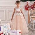 Lush Mullida Princesa elegante Vestido de Fiesta Apliques de Encaje de Baile de Tul Rosa Vestidos de Bola Del Organza con Rebordear Arco 12 Años