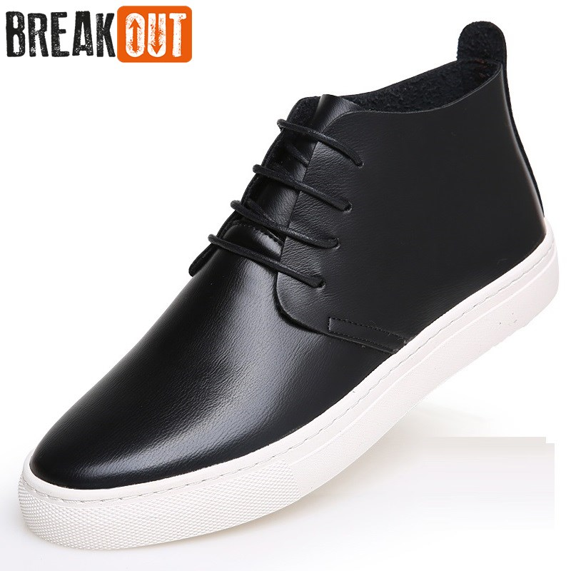 Break Out New Men Winter Boots Snow Boots for Men Leather Ankle Boots High Top Lace Up Breathable Fashion Men Shoes new spring men shoes trainers leather fashion casual high top walking lace up ankle boots for men red zapatillas hombre