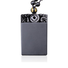 100% Natural Obsidian Agates Pendant Lucky Nothing Without Words Women Mens Amulet Jades Jewelry Pendants+Beads Necklace